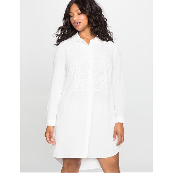 Eloquii Dresses & Skirts - NWT Eloquii Lace Insert Shirt Dress White Bib Neck